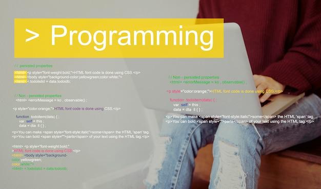 Programación script texto codificación palabra Foto gratis