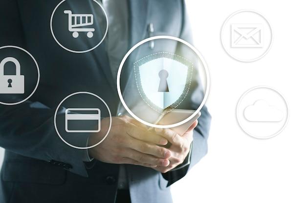 Protección de datos y seguridad de la red. Foto Premium