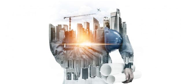 Proyecto de ingeniería de construcción de futuros edificios. Foto Premium