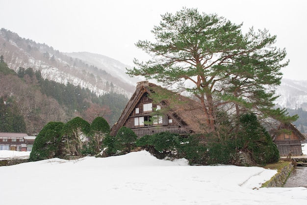Pueblo histórico japonés que estará cubierto por la nieve. Foto Premium