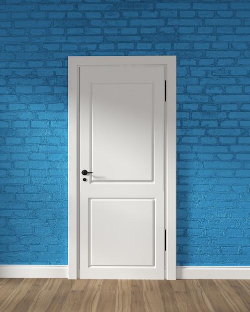 Puerta blanca del desván moderno y pared de ladrillo azul en piso de madera. representación 3d Foto Premium
