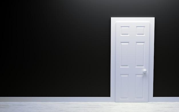 Puerta blanca moderna y pared negra con espacio libre Foto Premium