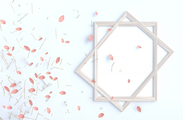 Rama de árbol y hojas rosadas del soplo en la pared del cemento blanco con el marco. procesamiento 3d de fondo. Foto Premium