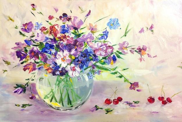 Ramo de flores de pradera salvaje de verano en florero de vidrio, pintura al óleo de naturaleza muerta Foto Premium