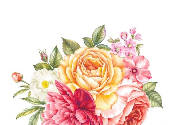 Ramo de rosas y flores de cerezo. Foto Premium