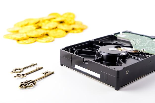 Ransomware trading coin con hacker para su cifrado de clave de datos Foto Premium
