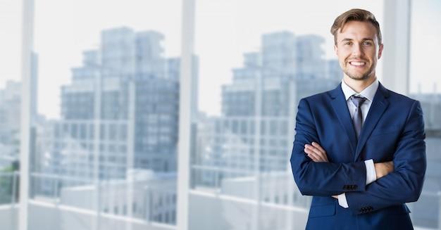 Rascacielos marco de la ventana líder de opinión de la ciudad Foto gratis