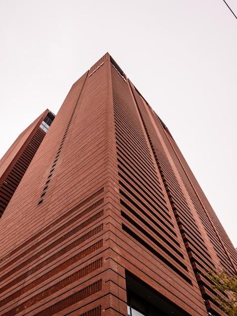 Rascacielos marrón en tiempo nublado Foto Premium
