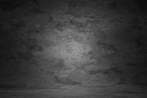 El rasguño gris oscuro de la pared de la textura del vintage empañó el fondo de la mancha. fondo de retrato de estudio de diseño de mármol, borde de luz suave del sitio web de banner. renderizado 3d Foto Premium