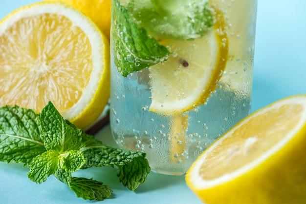 Receta de agua con infusión de menta de limón Foto gratis