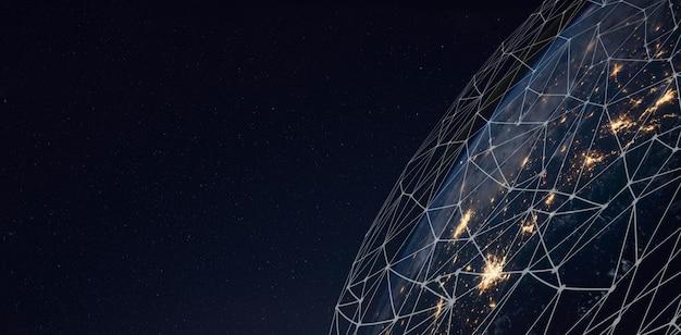 Red global para el intercambio de datos en el planeta tierra. Foto Premium