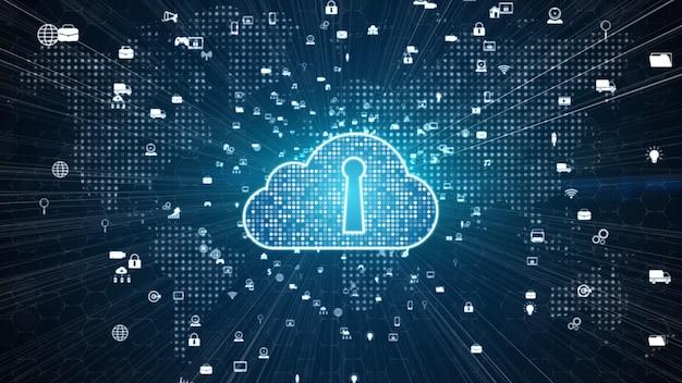 Red segura de datos digitales. concepto de ciberseguridad de computación digital en la nube Foto Premium