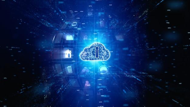 Red segura de datos digitales. digital cloud computing ciberseguridad. concepto de tecnología Foto Premium