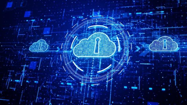 Red de tecnología y conexión de datos, red segura de datos, computación en nube digital. Foto Premium