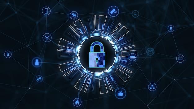 Red de tecnología de internet y concepto de seguridad cibernética. Foto Premium