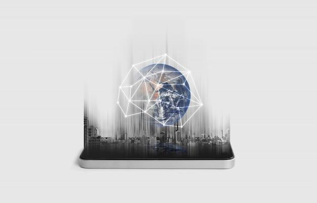 Red de telefonía móvil, comunicación y tecnología de redes globales. Foto Premium