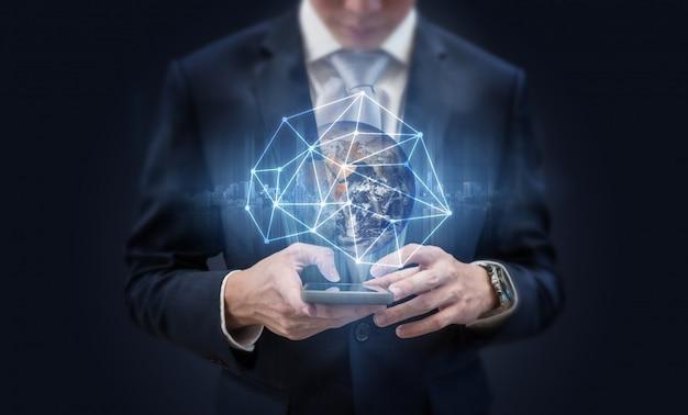 Redes sociales y tecnología de comunicación en red empresarial. Foto Premium