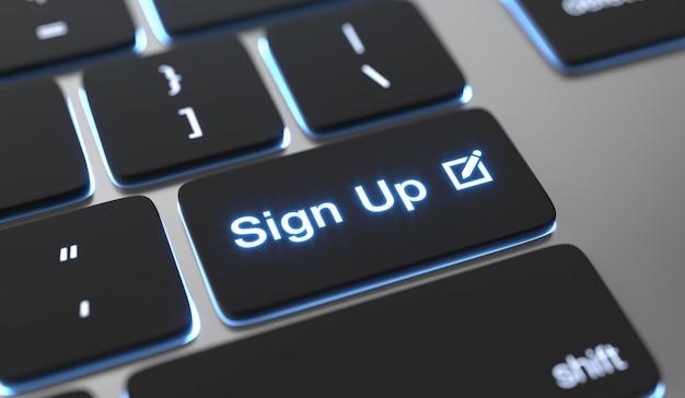 Regístrate texto escrito en el botón del teclado. Foto Premium
