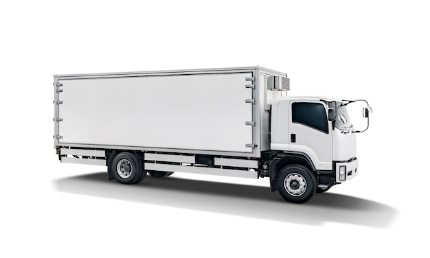 Remolque blanco de carga camión o contenedor auto car trailer Foto Premium