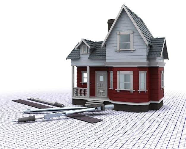 Render 3d De Una Casa De Madera Con Instrumentos De Dibujo