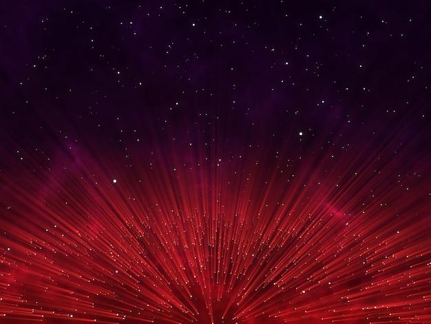 Render 3d de un diseño de partículas abstracto con rayos brillantes Foto gratis