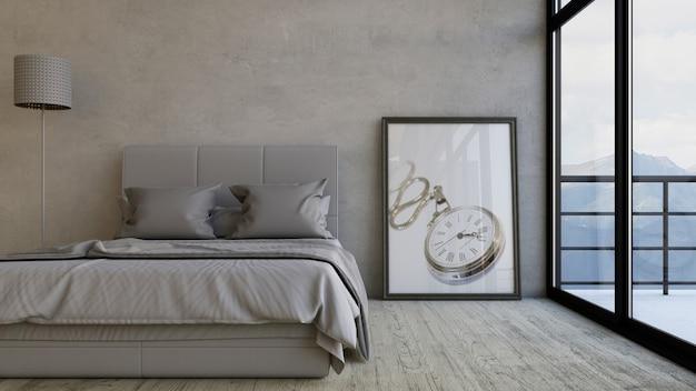 Render 3d de un dormitorio Foto gratis