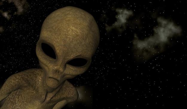 Render 3d de una escena espacial con primer plano de criatura alienígena Foto gratis