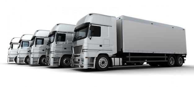 Render 3d de una flota de vehículos de entrega Foto gratis