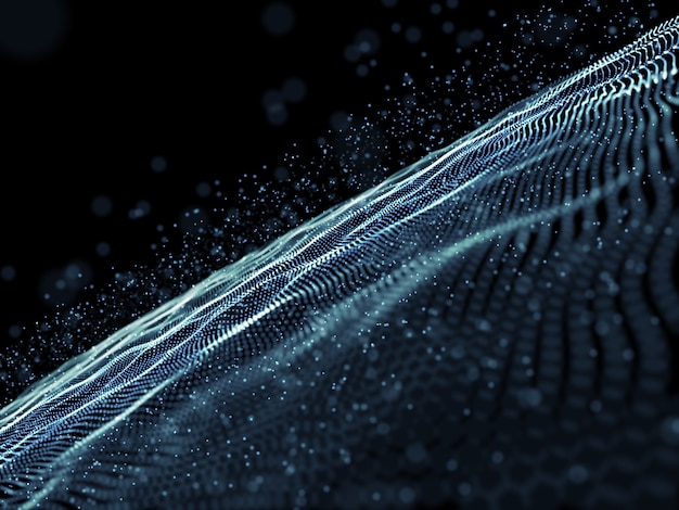 Render 3d de un fondo abstracto con un diseño de partículas cibernéticas digitales Foto gratis