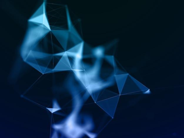 Render 3d de un fondo de comunicaciones de red con diseño de plexo de baja poli Foto gratis