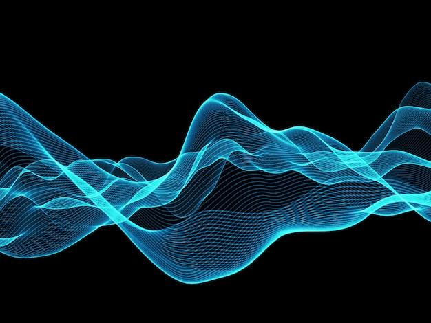 Render 3d de un fondo de líneas abstractas que fluye azul Foto gratis