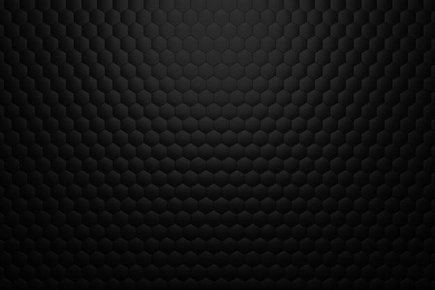 Render 3d de fondo volumétrico de hexágonos negros. fondo negro abstracto. Foto Premium