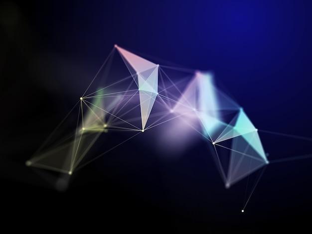 Render 3d de una formación científica en comunicaciones en red con diseño de plexo de baja poli Foto gratis