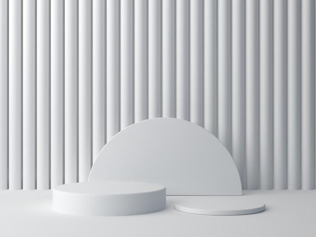 Render 3d formas blancas sobre fondo blanco abstracto. cilindro mínimo podio. Foto Premium