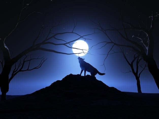 Render 3d De Un Lobo Aullando A La Luna Descargar Fotos Gratis