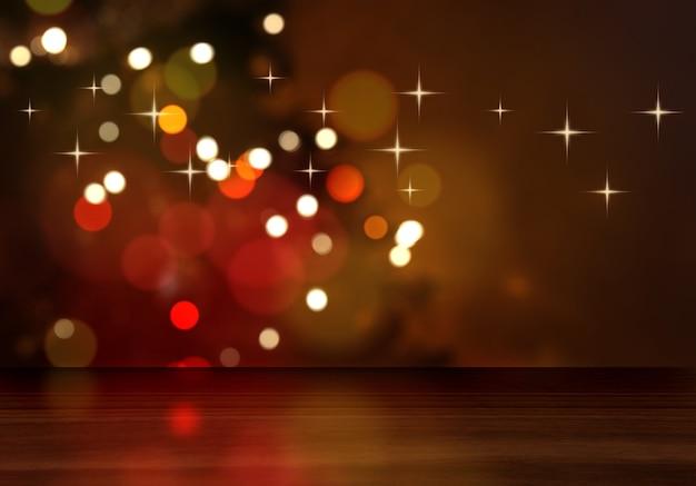 Render 3d de una mesa de madera mirando a un árbol de navidad desenfocado Foto gratis