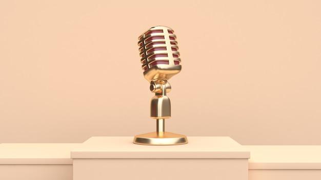 Render 3d de micrófono de oro Foto Premium