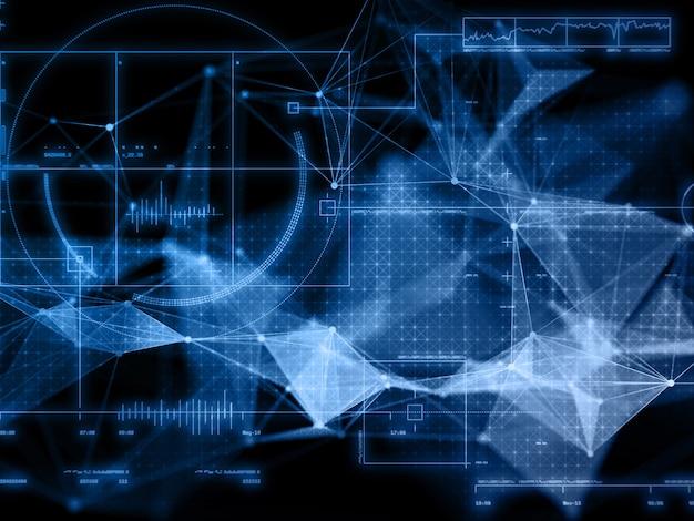 Render 3d de una moderna formación científica en comunicaciones de red con diseño de plexo Foto gratis