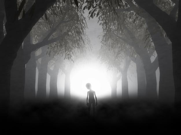 Render 3d de un paisaje espeluznante con alienígena en bosque neblinoso Foto gratis
