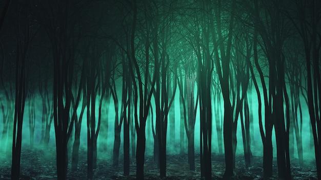 Render 3d de un paisaje de halloween con espeluznante bosque de niebla Foto gratis