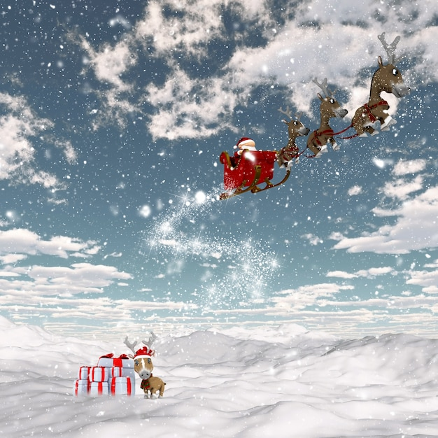 Render 3d de un paisaje nevado con santa y sus renos Foto gratis