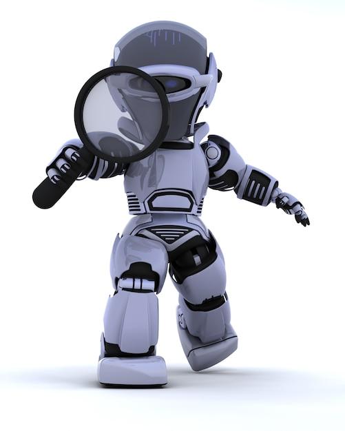 Render 3d de un robot buscando Foto gratis