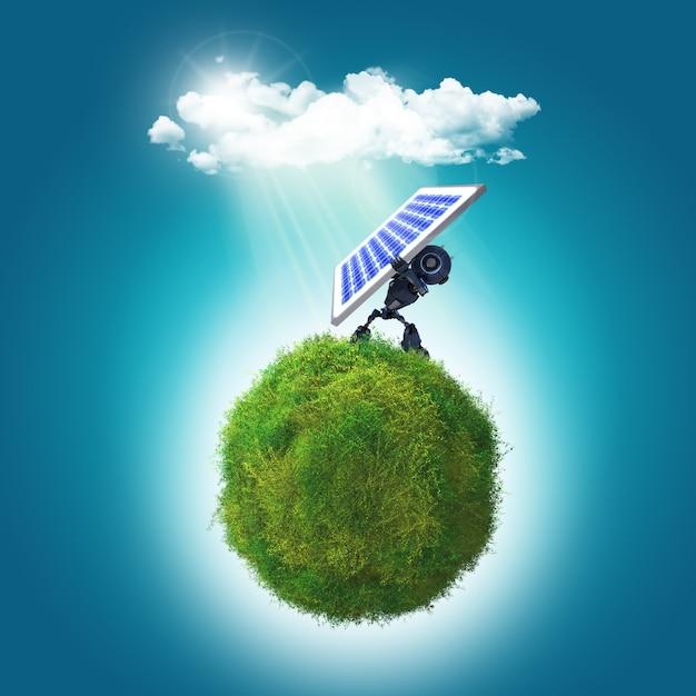 Render 3d de un robot que sostiene un panel solar en una glboe cubierta de hierba Foto gratis