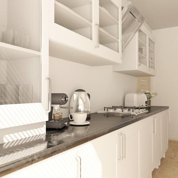 Render de cocina contemporánea 3d Foto gratis