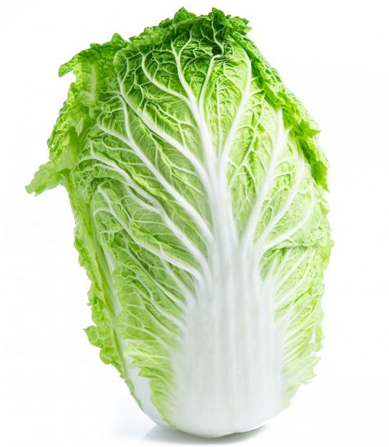 Repollo chino vegetal aislado sobre fondo blanco. Foto Premium
