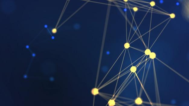 Representación 3d abstracto geometría amarilla volando red de estructura metálica y espacio de punto de conexión sobre fondo azul Foto Premium