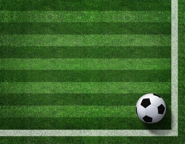 Representación 3d del balón de fútbol con la línea en campo de fútbol. Foto Premium