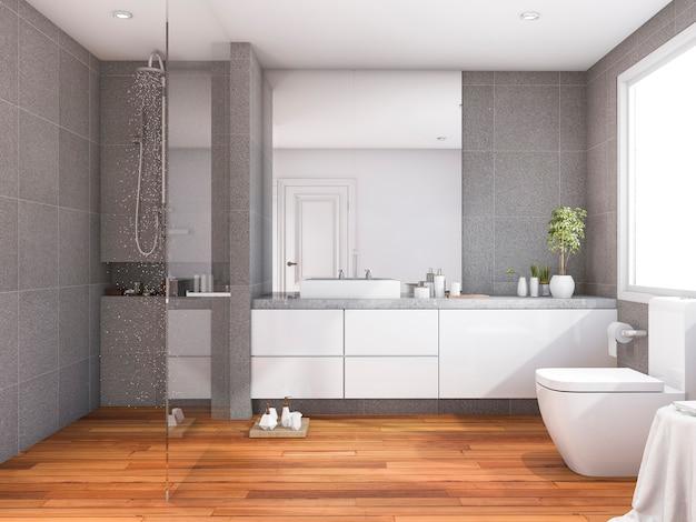 Representación 3d de baño de madera de estilo moderno y tropical cerca de la ventana Foto Premium