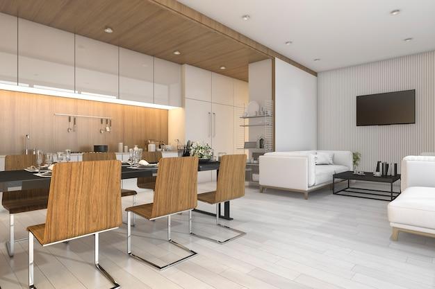 Representación 3d bonita cocina de madera y comedor con zona de estar Foto Premium
