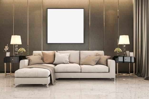 Representación 3d bonito sofá suave cerca de una decoración dorada de lujo Foto Premium